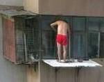 窓の外で鳩を飼ってる中国名物赤いパンツのおっちゃん