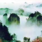 中国の仙界のような霧