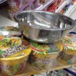 残さず食べない習慣狙いのラーメンの販促用の洗面器
