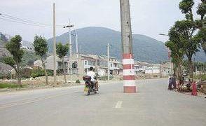 中国の電柱は道の端っこにあるとは言い切れない