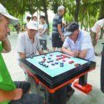 中国の公園で打つ将棋は健康器具のひとつ