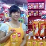 中国のジュースの購買層に応じた試飲販売