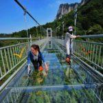 中国の新名物が山の上に作られたガラスの橋や桟道ですが…