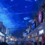 中国の天井スクリーンのある中華街