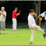 朝の公園の運動で健康を維持するお年寄りのみなさん