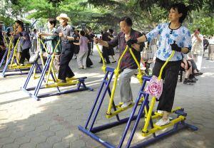 公園の健康機材で体を鍛えているお年寄りは本当に健康なのか?